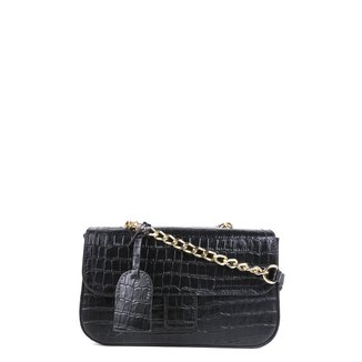 Bolsa Couro Shoestock Flap Croco Color Chain Feminina