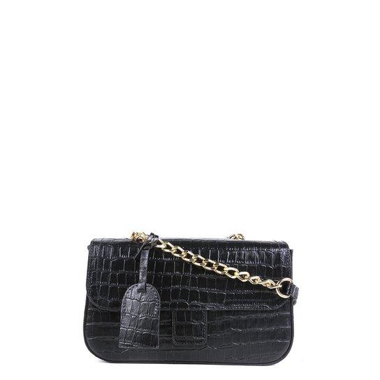 Bolsa Couro Shoestock Flap Croco Color Chain Feminina - Preto