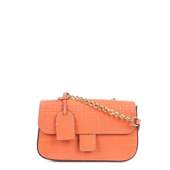 Bolsa Couro Shoestock Flap Croco Color Chain Feminina - Laranja