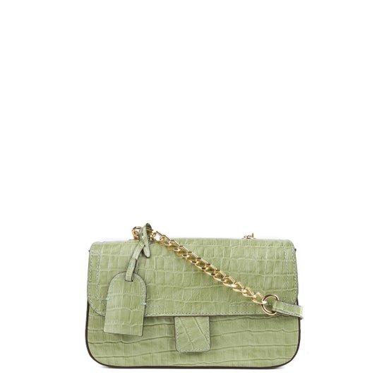 Bolsa Couro Shoestock Flap Croco Color Chain Feminina - Verde claro