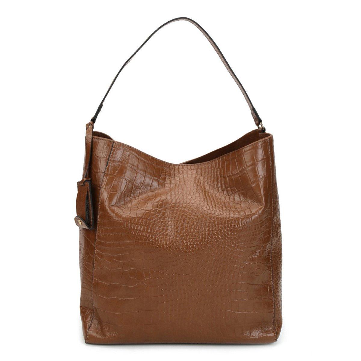4e5c9e58a2 Bolsa Couro Shoestock Hobo Alça Dupla Croco Feminina - Compre Agora ...