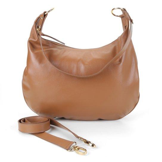 Bolsa Couro Shoestock Hobo Canoa Feminina - Caramelo