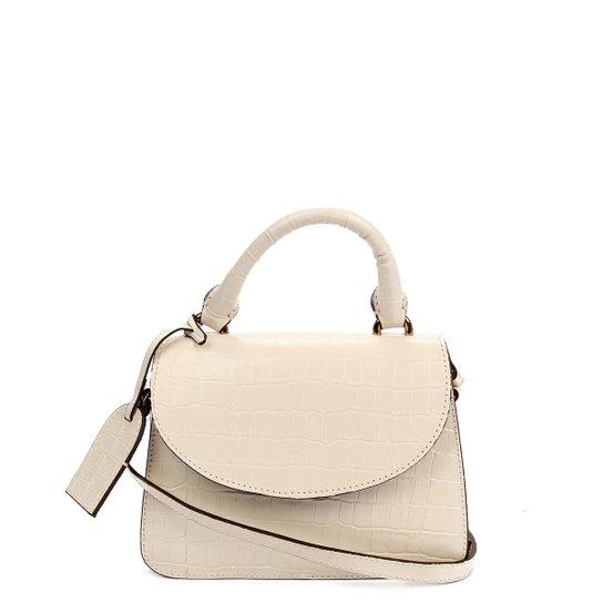 Bolsa Couro Shoestock Mini Transversal Croco Feminina - Off White