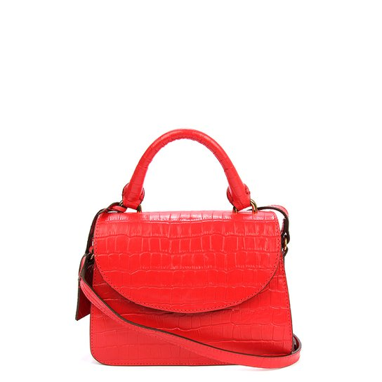 Bolsa Couro Shoestock Mini Transversal Croco Feminina - Vermelho