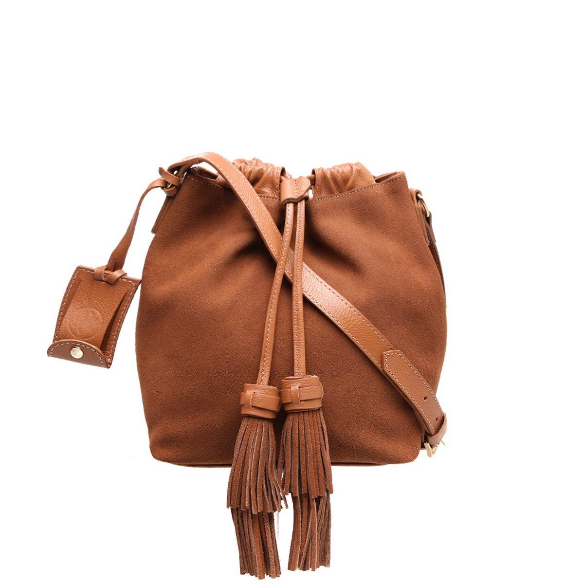 Bolsa De Couro Tipo Saco : Bolsa couro shoestock saco barbicachos feminina caramelo