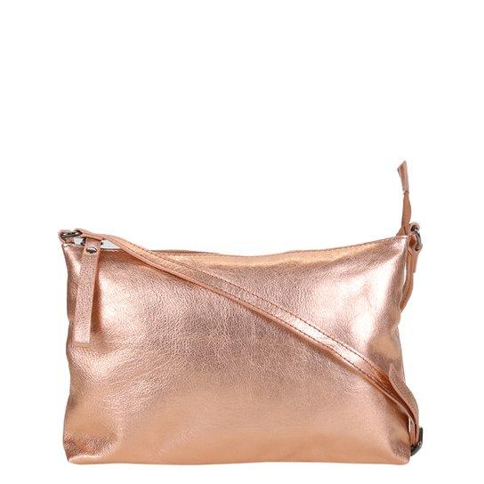 Bolsa Shoestock Metalizada Transversal Feminina - Cobre