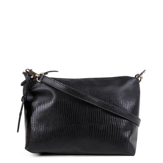Bolsa Shoestock Mini Bag Lezard Transversal Média Feminina - Preto