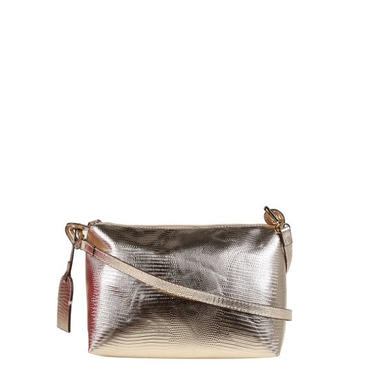 Bolsa Shoestock Mini Bag Lezard Transversal Média Feminina - Dourado