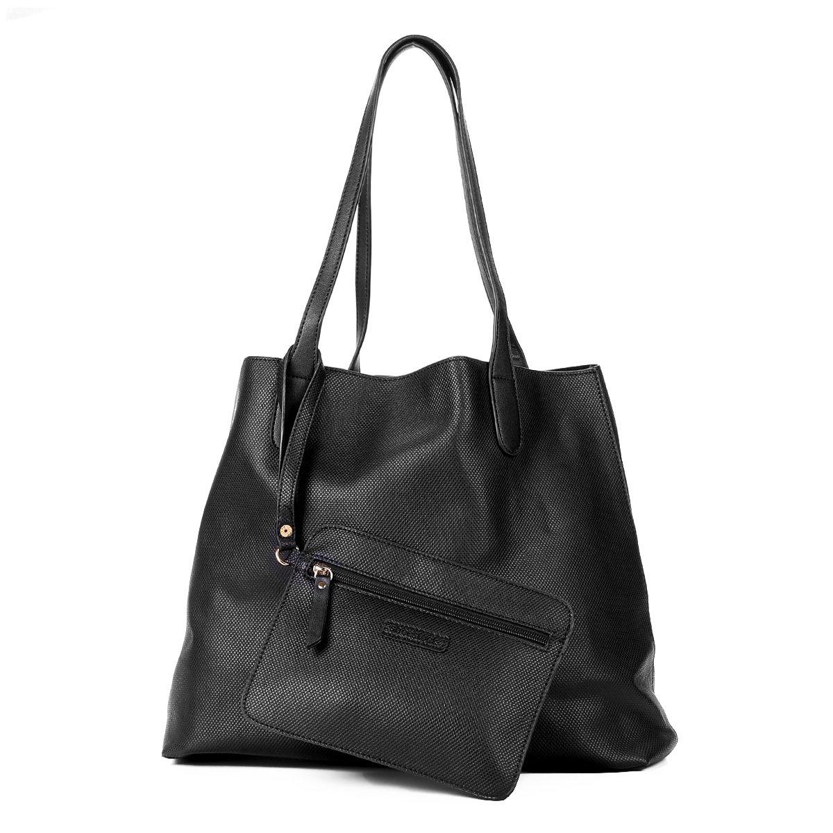 74358e9c4 Bolsa Shoestock Shopper Textura Feminina - Preto - Compre Agora ...