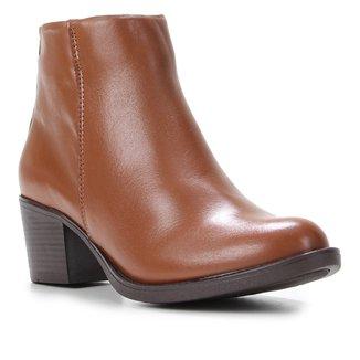Bota Cano Curto Shoestock Couro Salto Alto Feminina