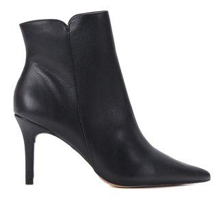 Bota Cano Curto Shoestock Couro Zíper Salto Fino Feminina