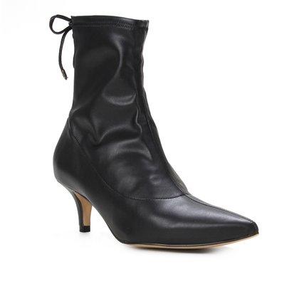 Bota Cano Curto Shoestock Salto Médio Napa Stretch Feminina