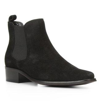 Bota Chelsea Shoestock Camurção Salto Baixo Feminina