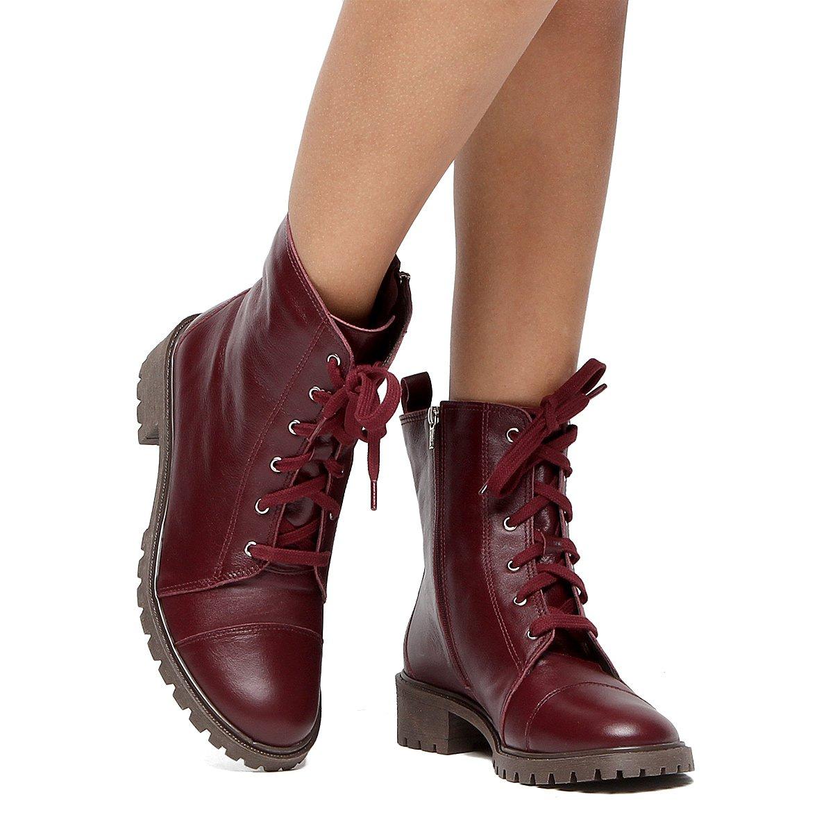 5ab5ccea60 Bota Coturno Couro Shoestock Feminina - Compre Agora