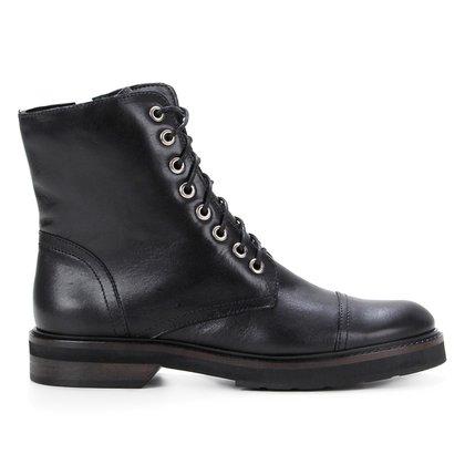 Bota Coturno Shoestock Couro Cano Curto Feminina