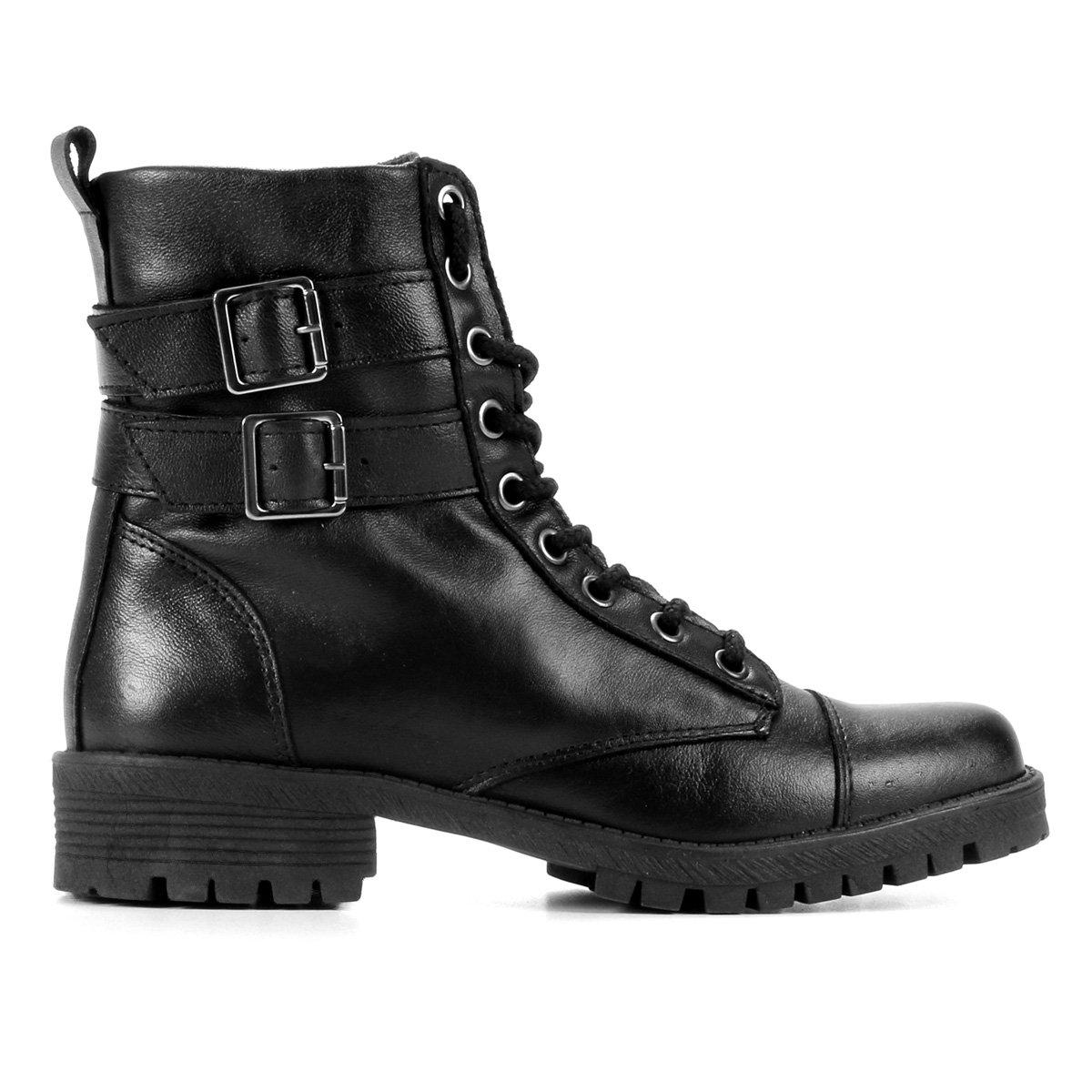 a8527500e Bota Coturno Shoestock Couro Fivelas Feminina - Preto | Shoestock