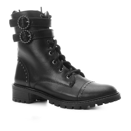 Bota Coturno Shoestock Couro Fivelas Feminina - Preto