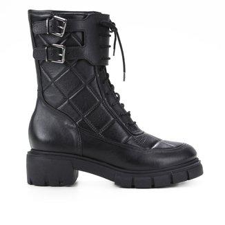 Bota Coturno Shoestock Couro Matelassê Fivelas Feminina