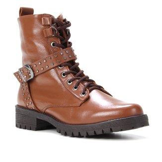 Bota Coturno Shoestock Couro Rebites Feminina