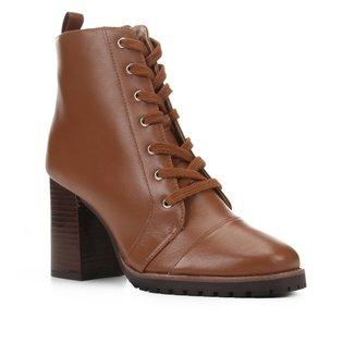 Bota Coturno Shoestock Couro Salto Alto Feminina