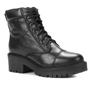 Bota Coturno Shoestock Couro Salto Baixo Feminina