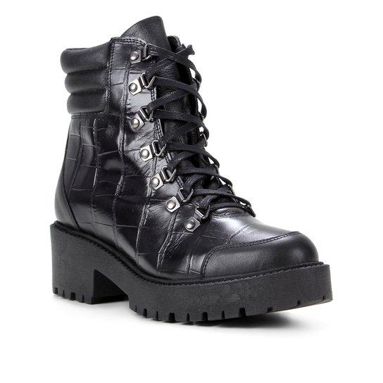 Bota Coturno Shoestock Croco Tratorada Feminina - Preto