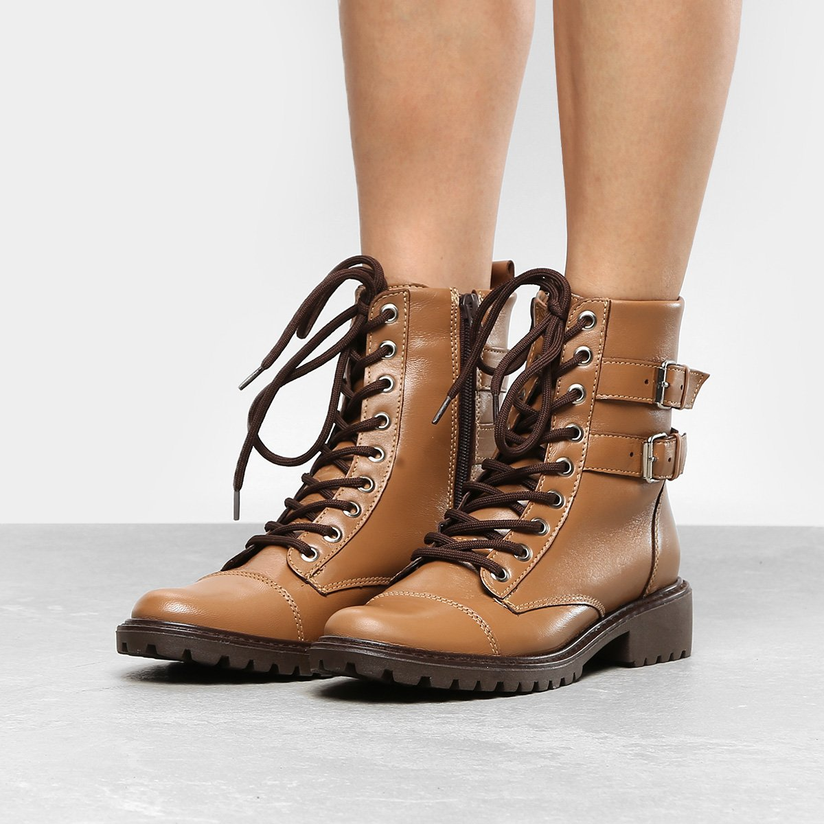 f8245bdc4eec9 ... Bota Coturno Shoestock Fivelas Feminina Caramelo Compre Agora