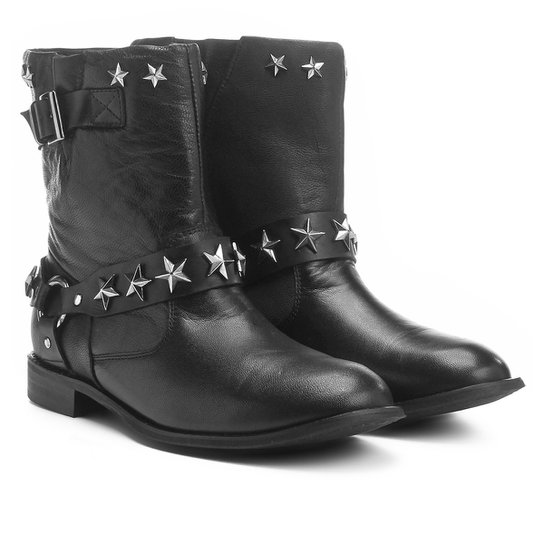 Bota Couro Biker Shoestock Estrelas Feminina - Preto