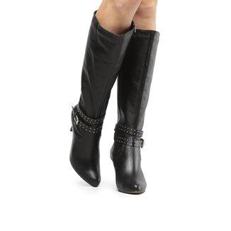 Bota Couro Cano Alto Shoestock Tira Hotfix Feminina