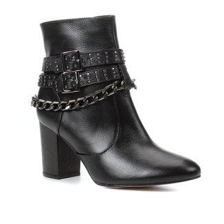 Bota Couro Cano Curto Shoestock Correntes Salto Bloco Feminino