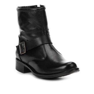 Bota Couro Cano Curto Shoestock Fivela Feminina