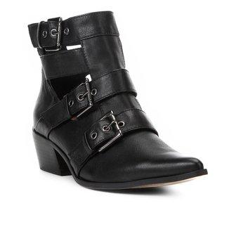 Bota Couro Cano Curto Shoestock Fivelas Recorte Feminina