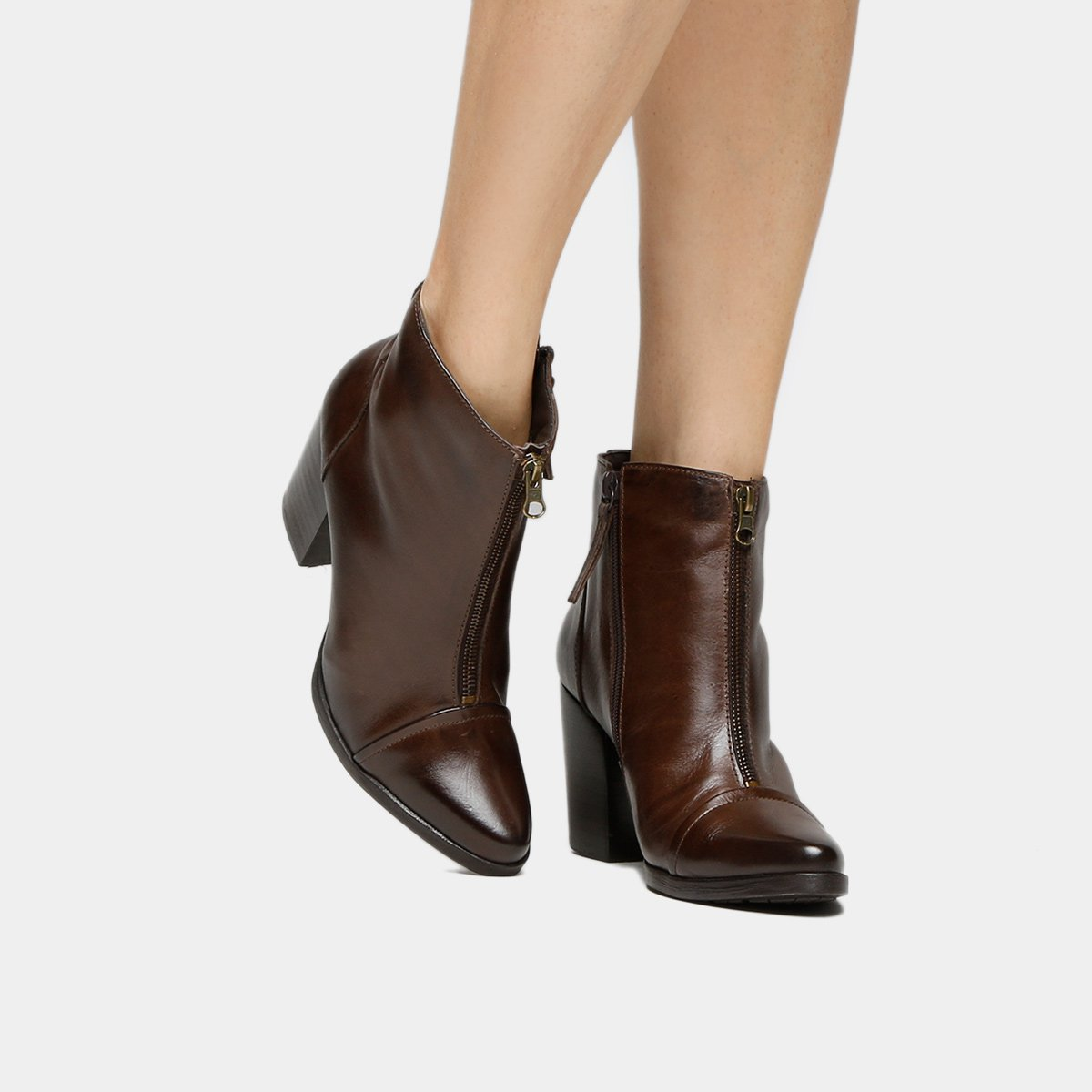 1e3691895 Bota Couro Cano Curto Shoestock Midi Ziper Feminino   Shoestock