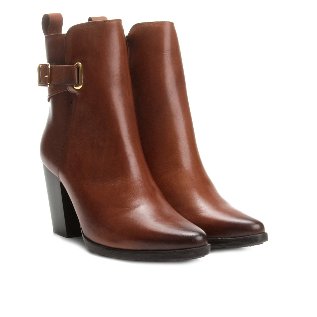 9811668837 Bota Couro Cano Curto Shoestock Salto Alto Feminina - Marrom - Compre Agora