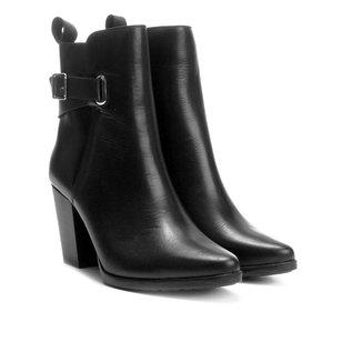 Bota Couro Cano Curto Shoestock Salto Alto Feminina