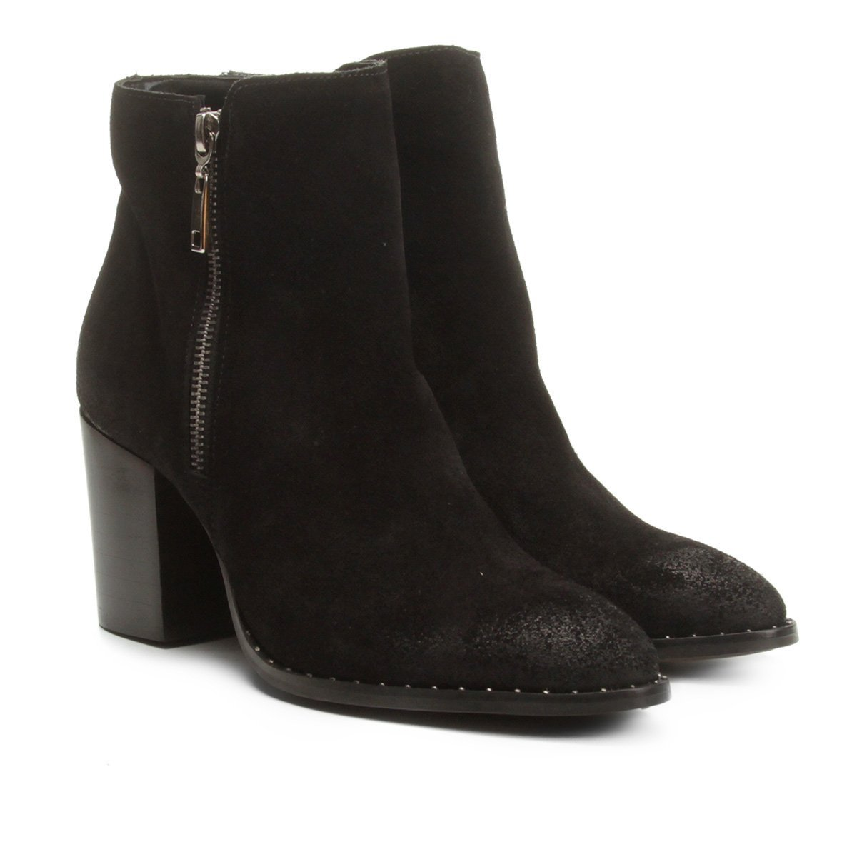 ac7dea66e Bota Couro Cano Curto Shoestock Salto Bloco Feminina - Preto - Compre Agora