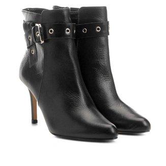 Bota Couro Cano Curto Shoestock Salto Fino Fivela Feminina
