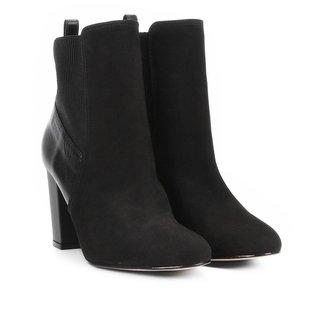 Bota Couro Cano Curto Shoestock Salto Grosso Feminina