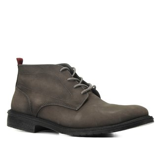 Bota Couro Cano Curto Shoestock Stoned Amarrar Solado Gel Masculina