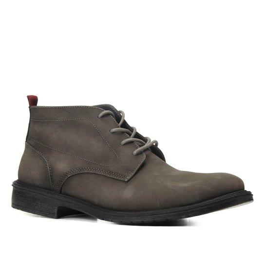 Bota Couro Cano Curto Shoestock Stoned Amarrar Solado Gel Masculina - Preto