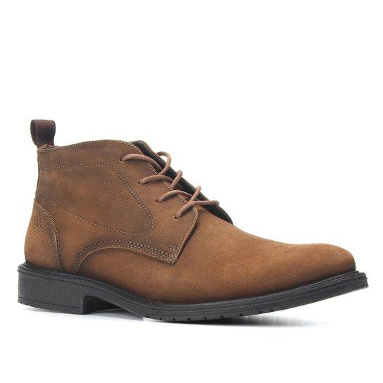 Bota Couro Cano Curto Shoestock Stoned Amarrar Solado Gel Masculina - Caramelo