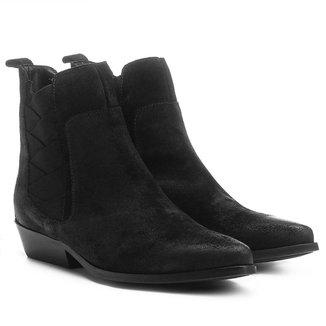 Bota Couro Chelsea Shoestock Bico Fino Elásticos Transpassados Feminina