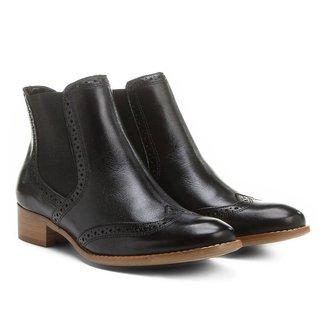 Bota Couro Chelsea Shoestock Brogues Feminina