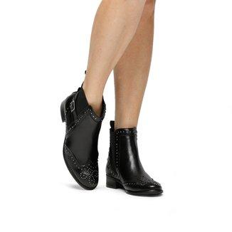 Bota Couro Chelsea Shoestock Cravinhos Fivela Feminino