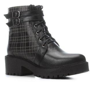 Bota Couro Coturno Shoestock Bordado Xadrez Feminina
