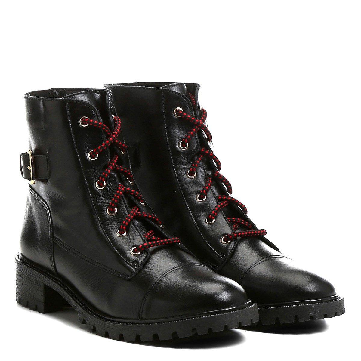 2b86bcf885f Bota Couro Coturno Shoestock Fivela Feminina - Preto - Compre Agora ...