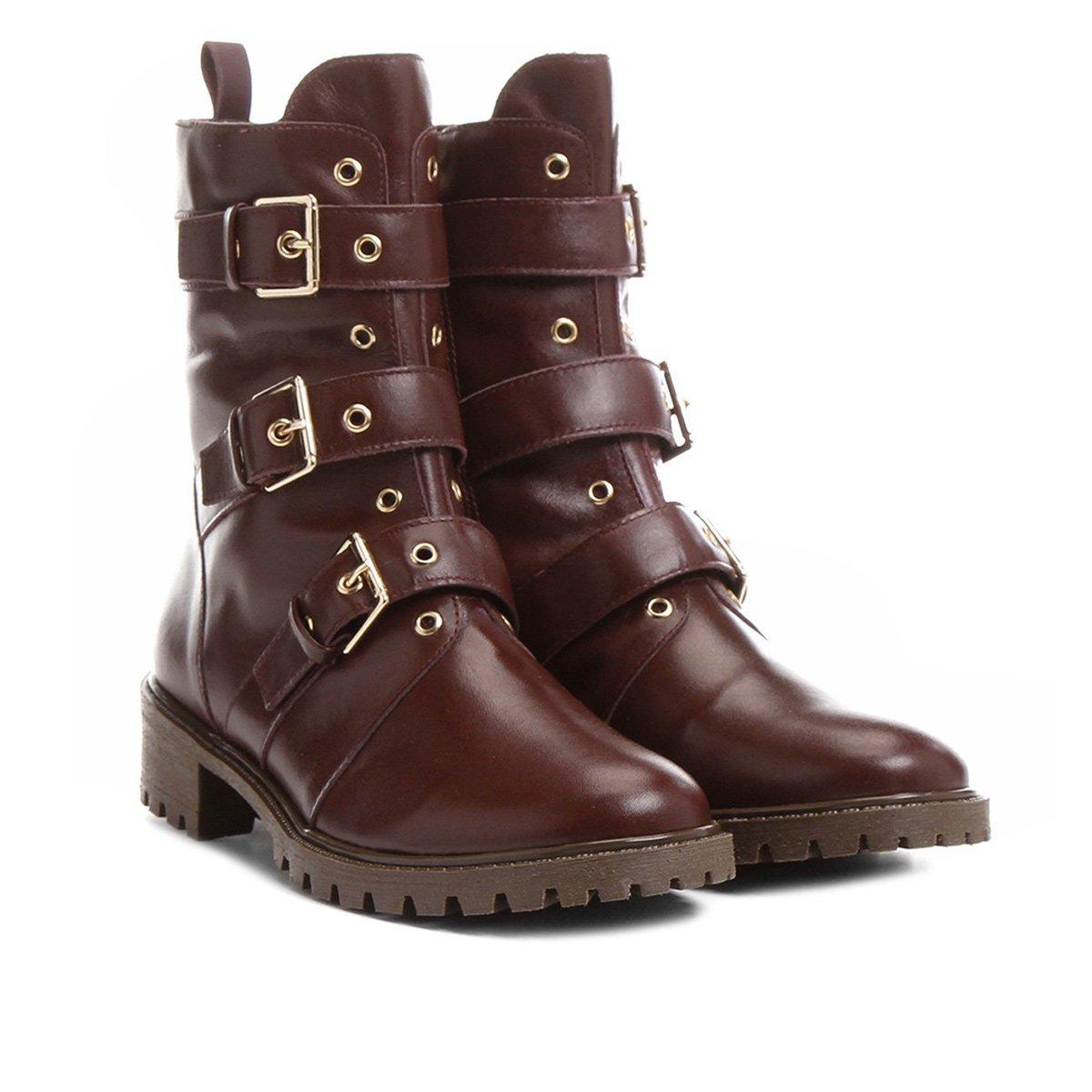6efaf395fb4 Bota Couro Coturno Shoestock Fivelas Feminina - Compre Agora