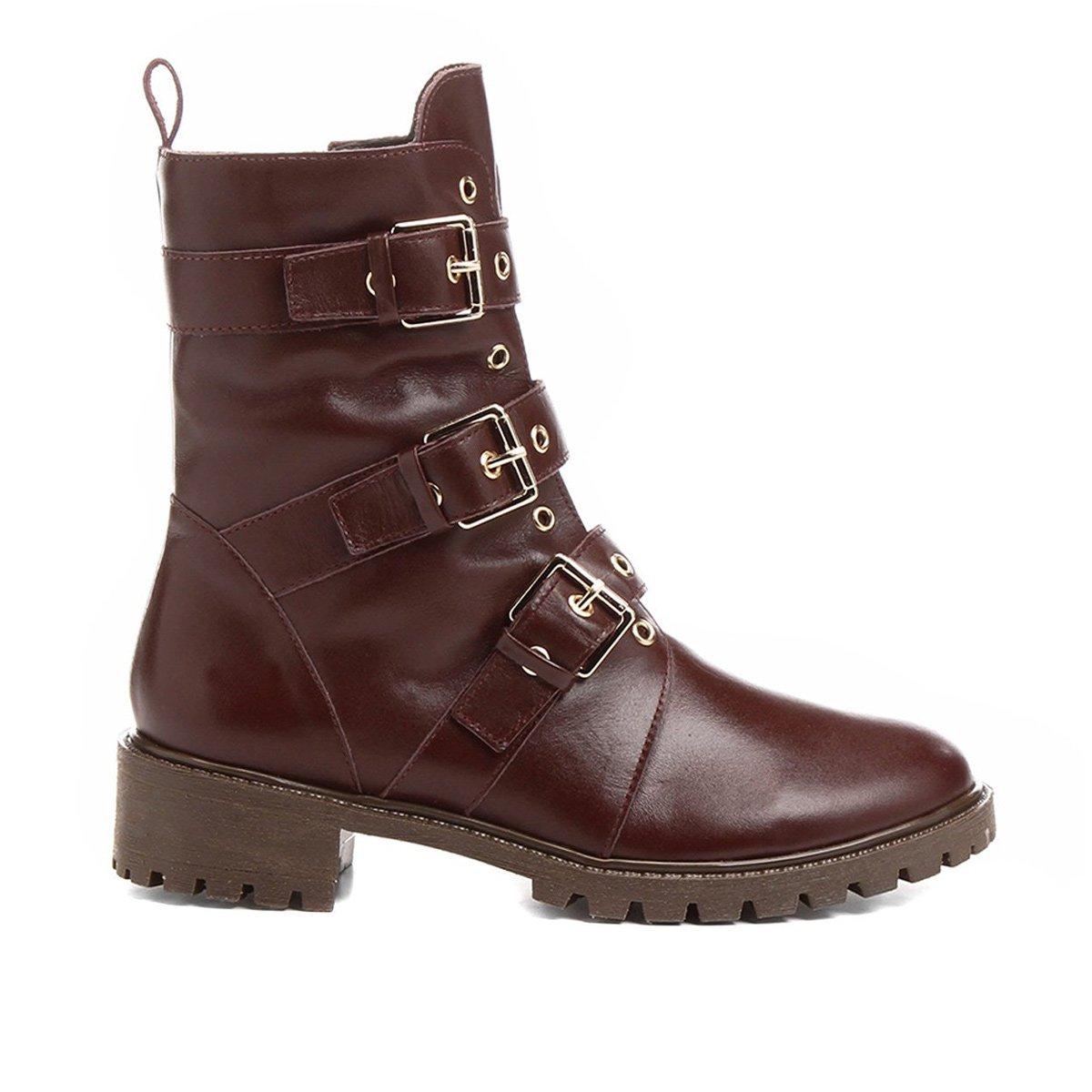 Bota Couro Coturno Shoestock Fivelas Feminina - Compre Agora  fdc5e88791424