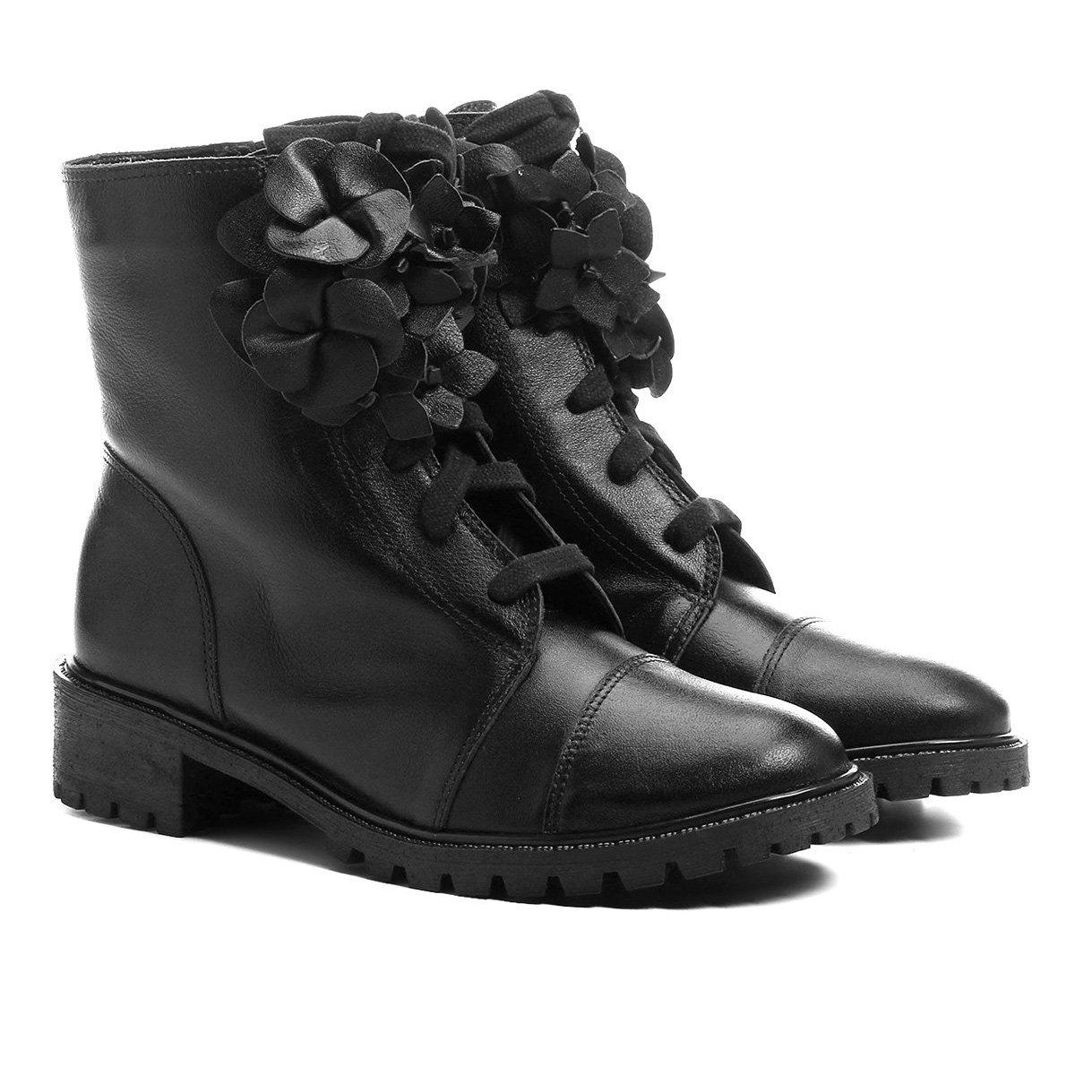 8bc38d094d Bota Couro Coturno Shoestock Flores Feminina - Compre Agora