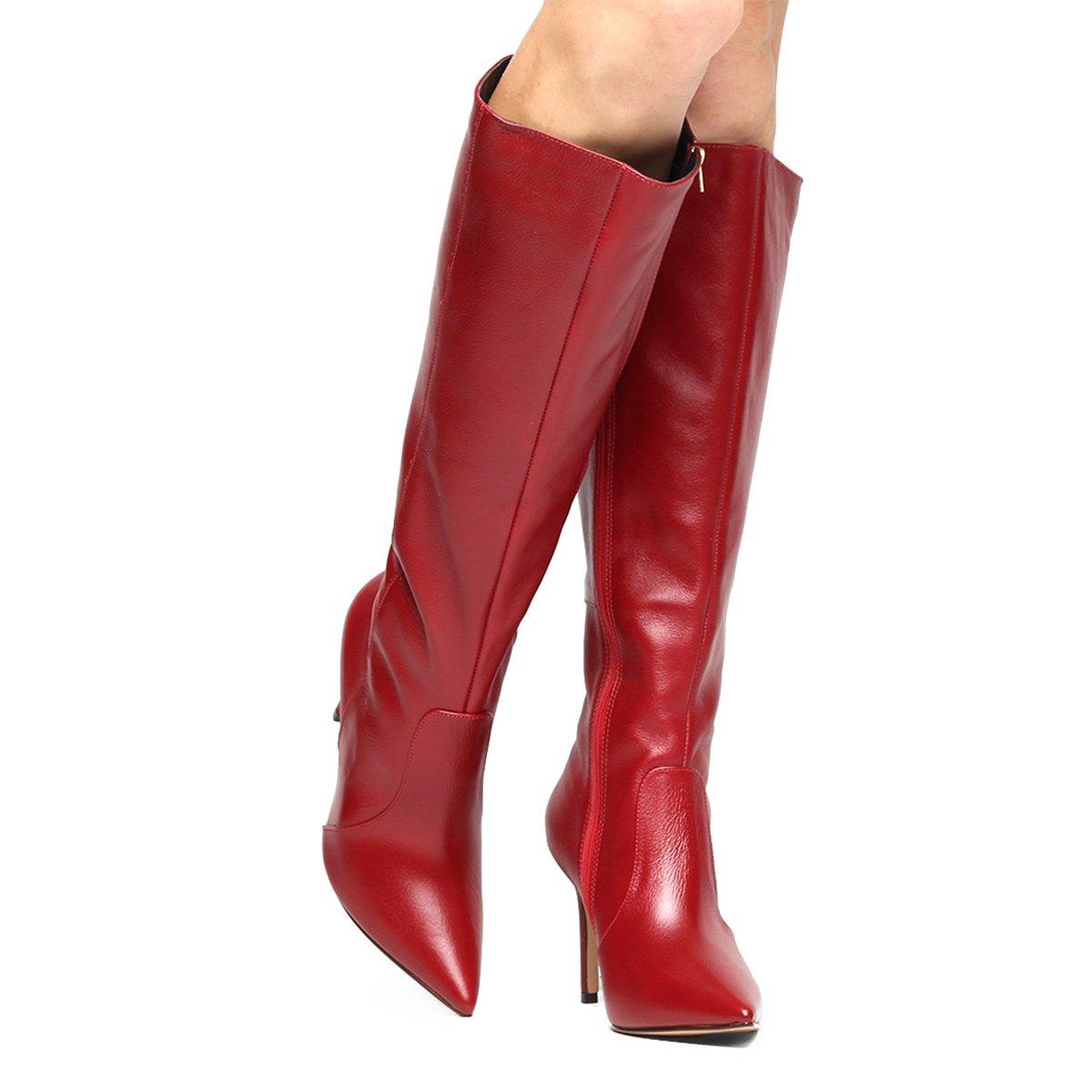 5b193b9e69 Bota Couro Montaria Shoestock Bico Fino Feminina - Vermelho - Compre Agora
